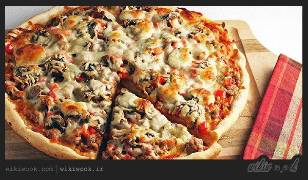 پیتزای مرغ و قارچ